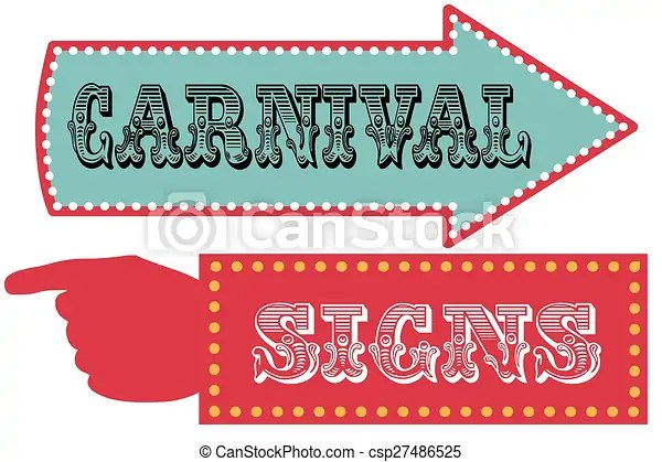 Carnival sign template direction signs with arrow and pointing hand - free carnival sign template