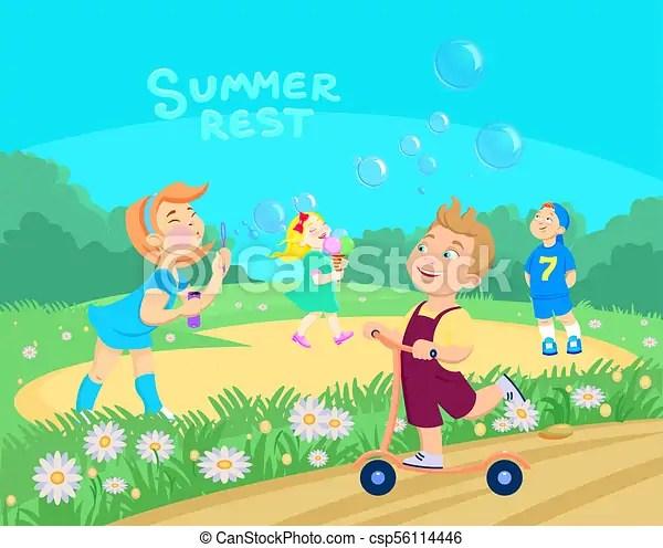 Cartoon children playing on the street summer vacation vector - cartoon children play