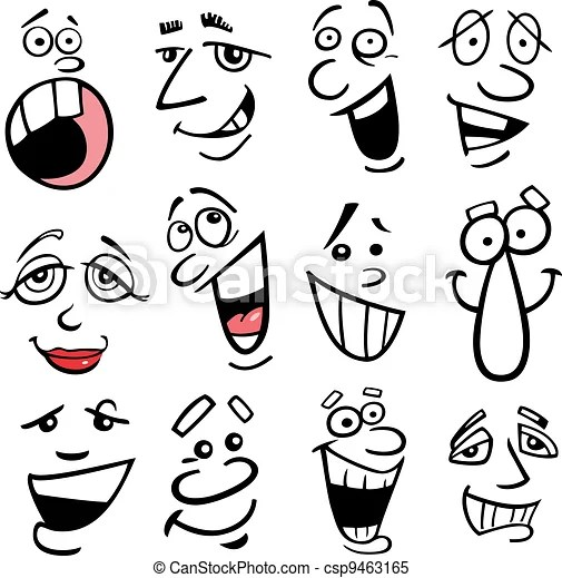 Cartoon emotions illustration Cartoon faces and emotions for humor