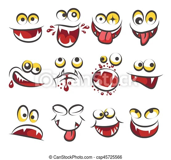 Cartoon faces emotions isolated on white background sketch cute