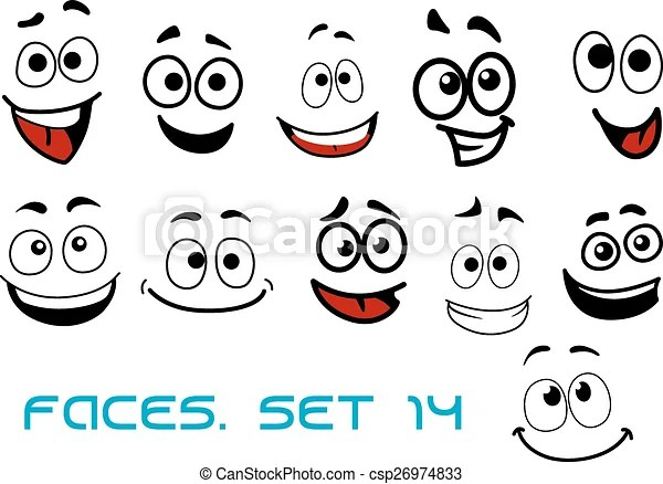 Cartoon faces with happiness and joyful expressions Smiling funny