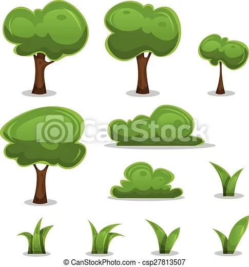 Cartoon trees, hedges and grass leaves set Illustration of a set of