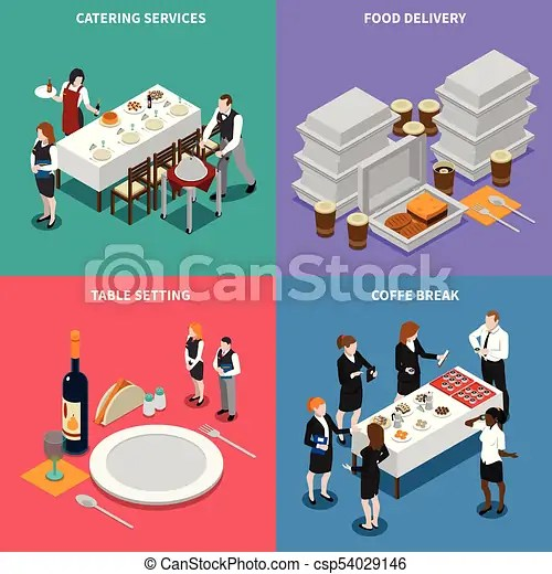 Catering services isometric design concept Catering services