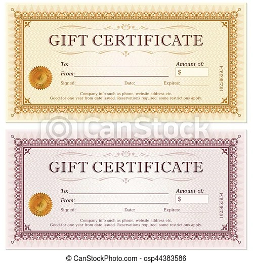 Certificate gift coupon template - money coupon template