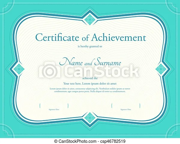 Certificate of achievement template in vector with applied vector