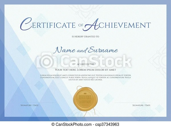 Certificate of achievement template with blue theme background, thai
