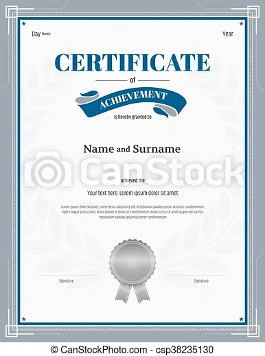 Certificate of achievement template with silver gray border