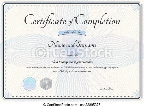 Certificate of completion template in vector with florist botany