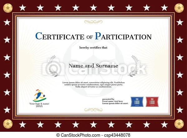Certificate of participation template in sport theme for football - free certificate of participation template