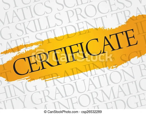 Certificate word cloud, education business concept stock