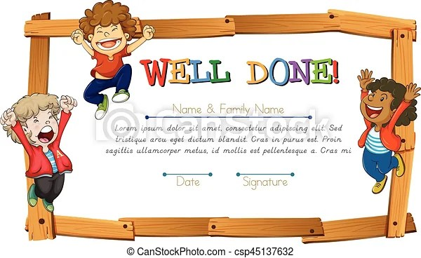 Certificate template with kids and wooden frame illustration vectors - certificate template for kids