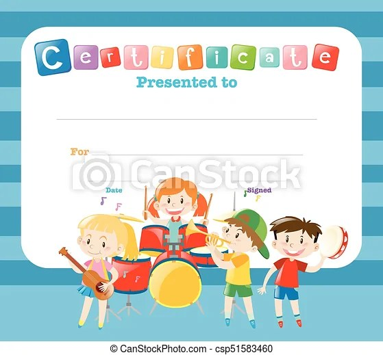 Certificate template with kids in the band illustration clip art - certificate template for kids