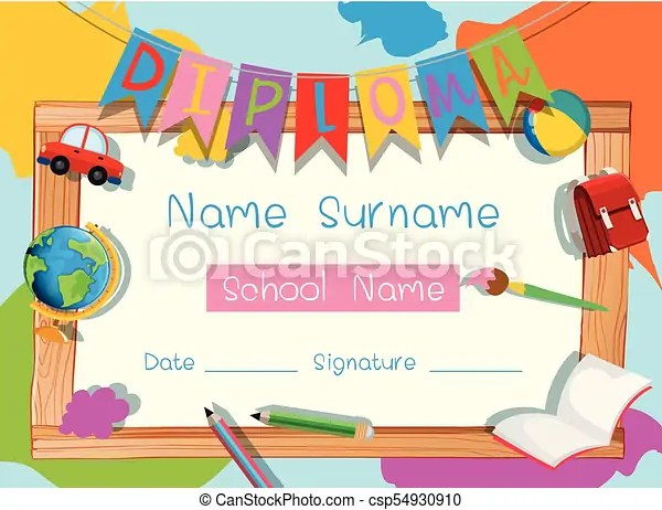 Certificate template with school supplies illustration