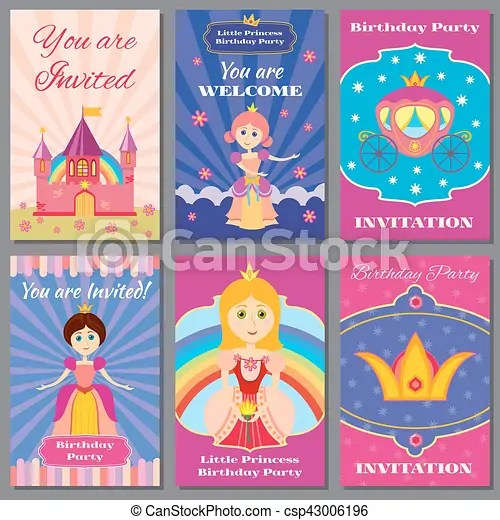 Child girl birthday, princess party vector invitations set template