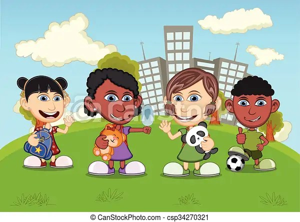 Children playing in the park cartoon - cartoon children play