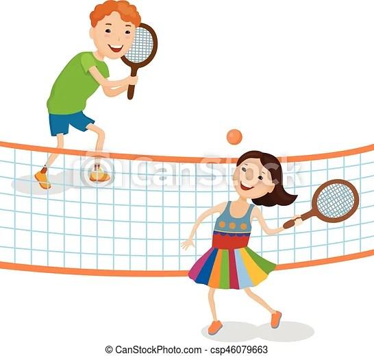 Children playing tennis Little cartoon fun kids in colorful clothes - cartoon children play