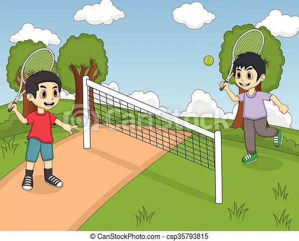 Children playing tennis in the park cartoon - cartoon children play