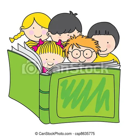 Children reading a book clipart vector - Search Illustration