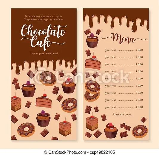 Chocolate cake and dessert menu template design Cake and dessert
