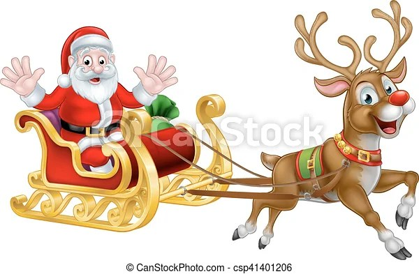 Christmas Cartoon Santa And Reindeer Sleigh Santa Claus