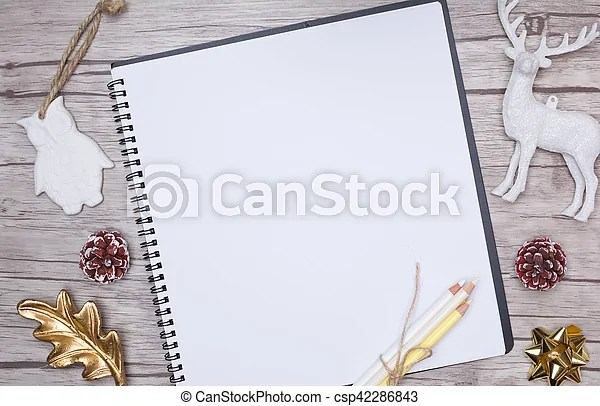 Christmas letter writing on white paper with decorations Christmas