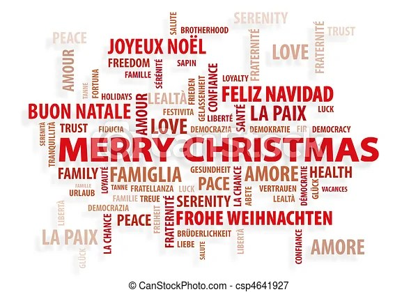 Christmas magic words Christmas card, red words on white stock