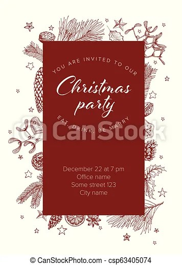 Vector vintage hand drawn christmas party invitation template with