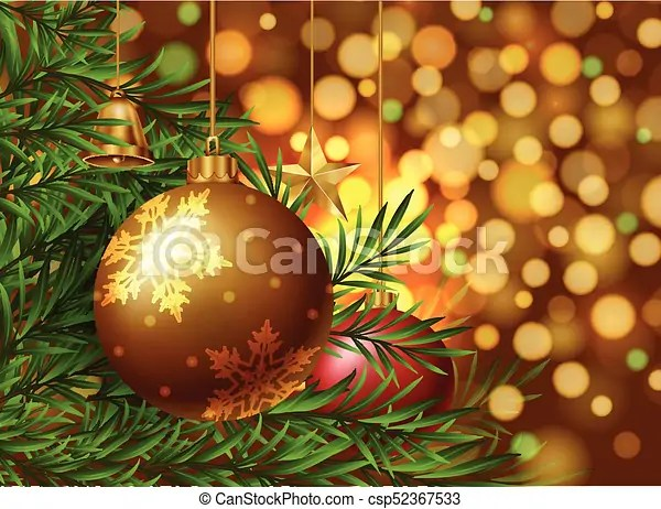 Christmas theme background with ornaments on the tree illustration - christmas theme background