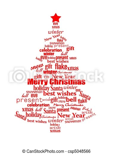 Christmas tree made of red christmas words - vector clip art - christmas tree words