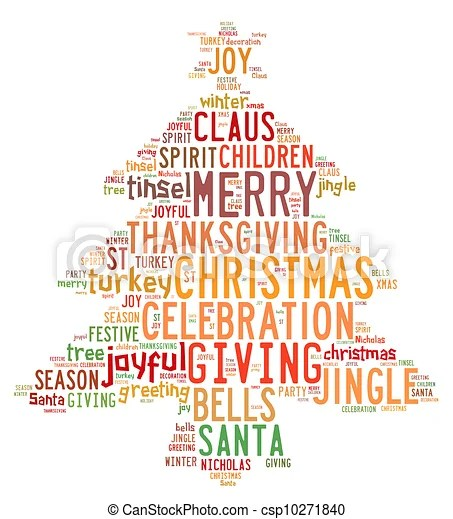 Christmas tree word clouds in white background Christmas drawing - christmas tree words