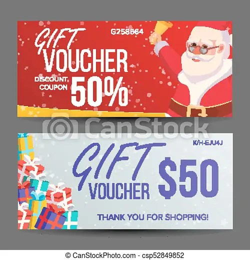 Christmas voucher vector horizontal banner merry christmas santa