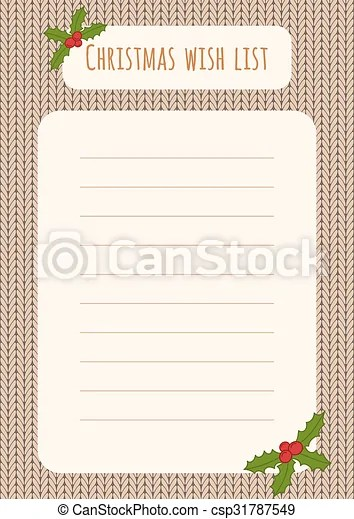 Christmas wish list design template over a knitted eps vector - christmas wish list paper