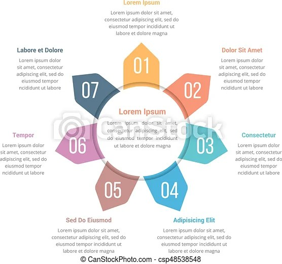 Circle infographics template with seven elements Circle