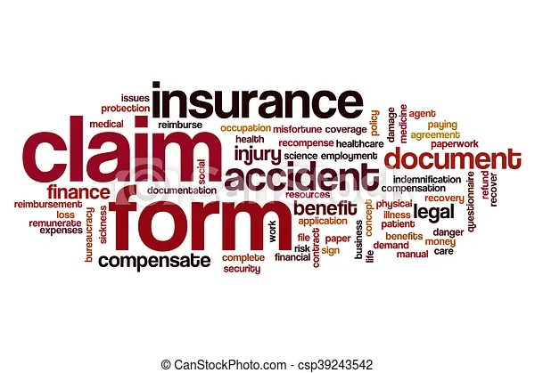 Claim form word cloud concept drawing - Search Clip Art