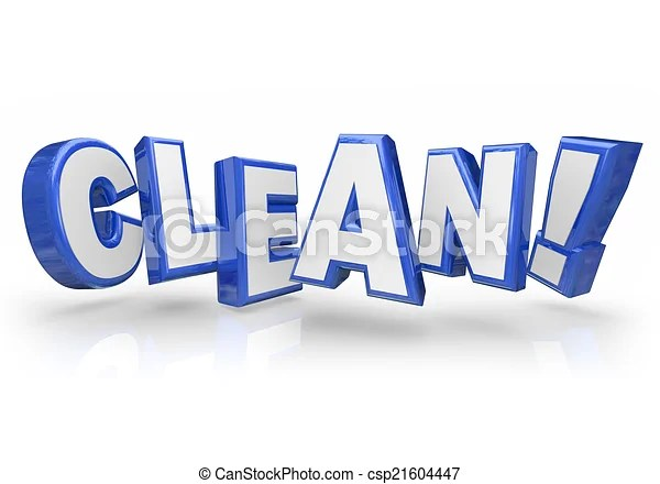 Clean 3d blue word letters safe cleanliness Clean word in 3d blue - word with the letters