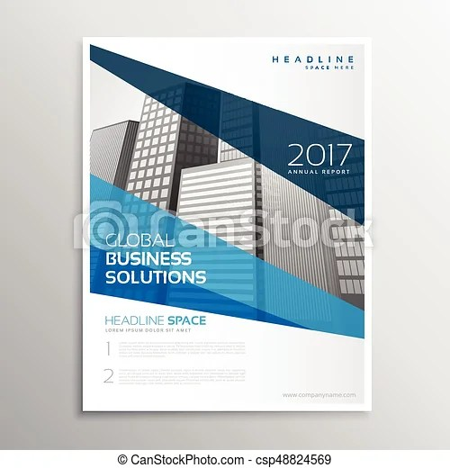 Clean geometric blue brochure template design for annual clip art - annual report template design