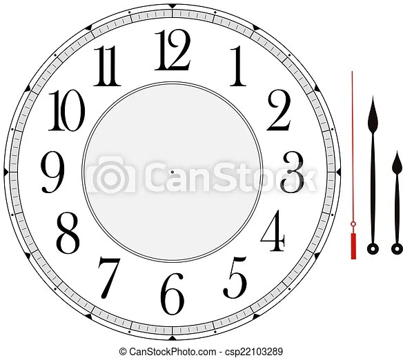 Clock face template with hour, minute and second hands to make your - clock face template