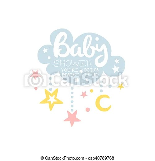 Cloud and stars baby shower invitation design template calligraphic