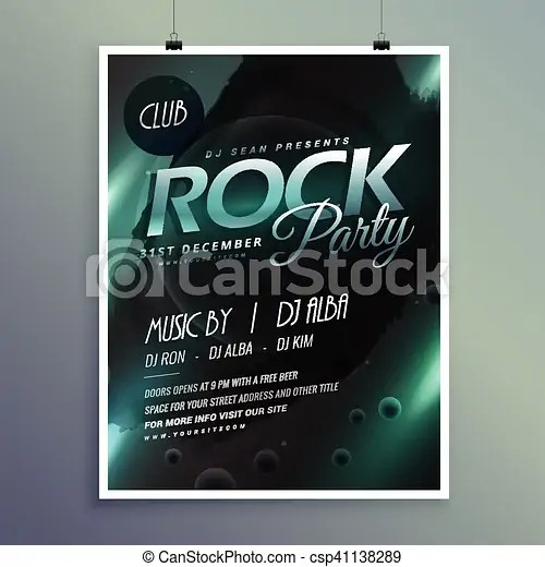 Club rock party music flyer template