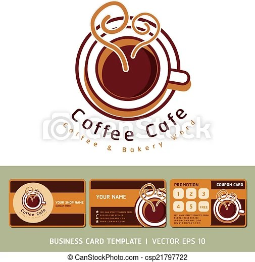 Coffee cafe business cards design Coffee cafe icon logo and