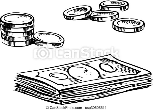 Coins and stacks of dollar bills sketches Dollar bills stack and - background sketches