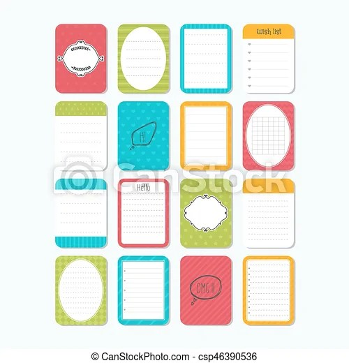 Collection of various note papers template notepad sheets - notepad paper template