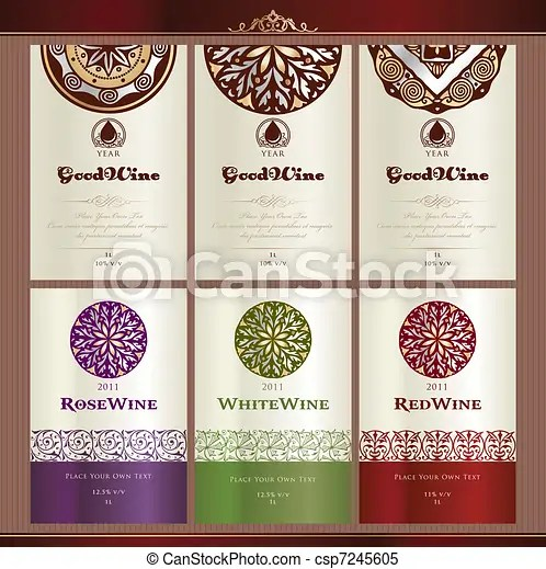 Collection of wine labels  Set of wine label templates clipart