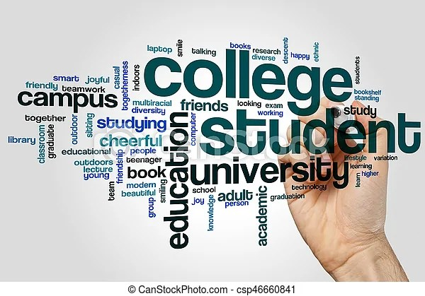 College student word cloud concept on grey background