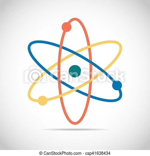 Colored atom icon vector illustration Atom icon in flat design - molecule vs atom