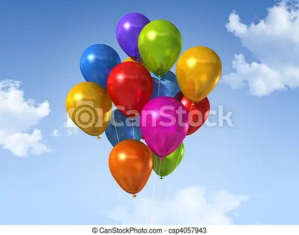 Colored balloons on a blue sky Colored air balloons floating on a