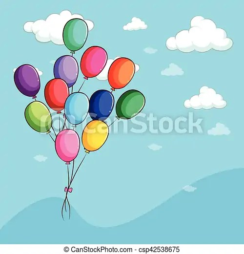 Colorful balloons floating in the sky illustration