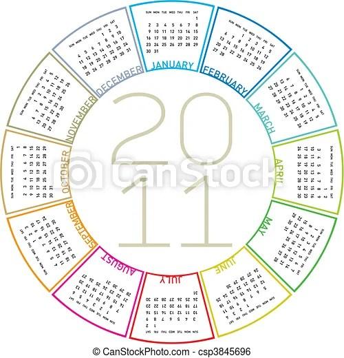 Colorful circular calendar 2011 Colorful calendar for 2011 clip - circular calendar