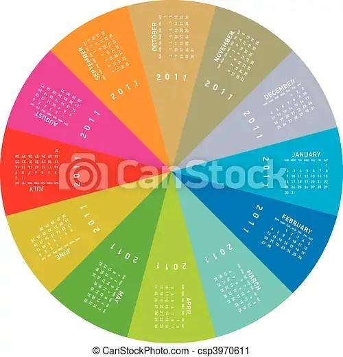 Colorful circular calendar 2011 Colorful calendar for 2011 - circular calendar
