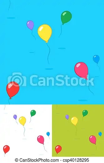 Colorful kids party balloons floating in the sky in three different